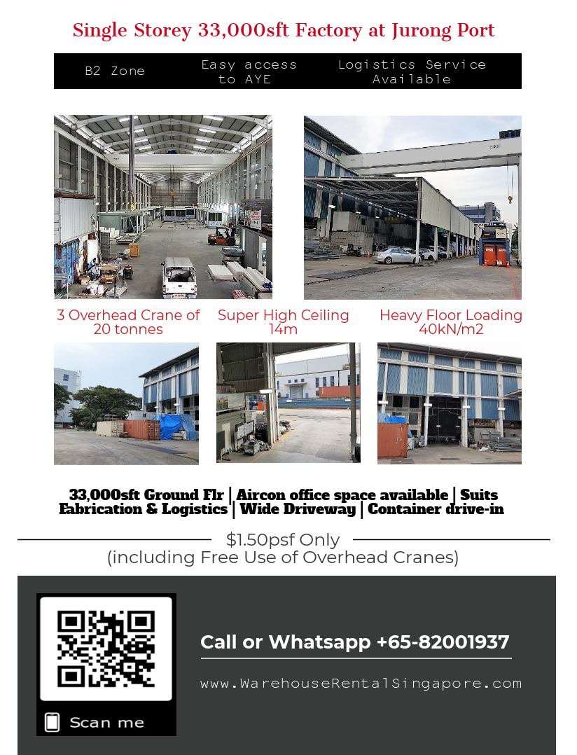 factory at jurong port for lease