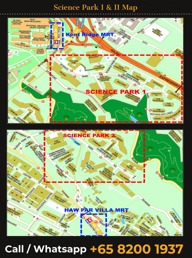 Singapore Science Park 1 and Science Park 2 map